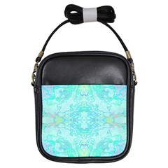 Green Tie Dye Kaleidoscope Opaque Color Girls Sling Bags