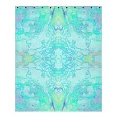 Green Tie Dye Kaleidoscope Opaque Color Shower Curtain 60  x 72  (Medium)