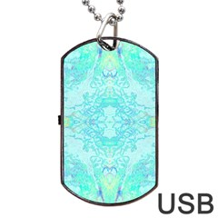 Green Tie Dye Kaleidoscope Opaque Color Dog Tag USB Flash (Two Sides)