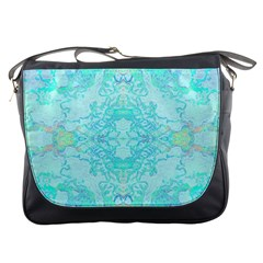Green Tie Dye Kaleidoscope Opaque Color Messenger Bags