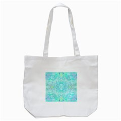 Green Tie Dye Kaleidoscope Opaque Color Tote Bag (White)