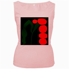 Illustrators Portraits Plants Green Red Polka Dots Women s Pink Tank Top