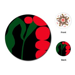 Illustrators Portraits Plants Green Red Polka Dots Playing Cards (Round)