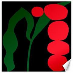 Illustrators Portraits Plants Green Red Polka Dots Canvas 12  x 12