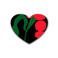 Illustrators Portraits Plants Green Red Polka Dots Heart Coaster (4 pack)