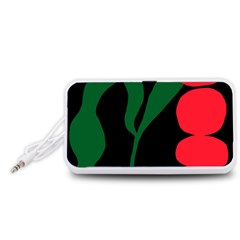 Illustrators Portraits Plants Green Red Polka Dots Portable Speaker (White)