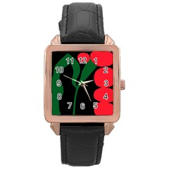 Illustrators Portraits Plants Green Red Polka Dots Rose Gold Leather Watch