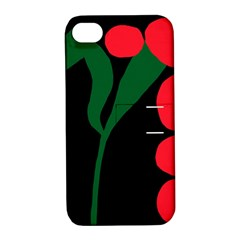 Illustrators Portraits Plants Green Red Polka Dots Apple iPhone 4/4S Hardshell Case with Stand