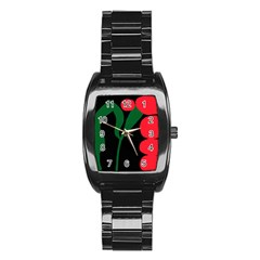 Illustrators Portraits Plants Green Red Polka Dots Stainless Steel Barrel Watch