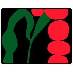 Illustrators Portraits Plants Green Red Polka Dots Double Sided Fleece Blanket (Medium)