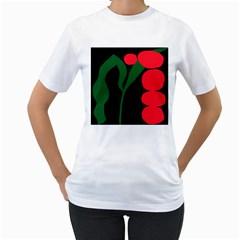 Illustrators Portraits Plants Green Red Polka Dots Women s T Shirt (white)