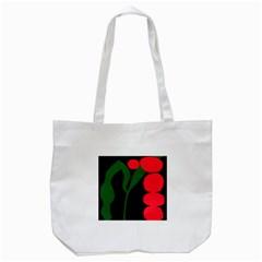 Illustrators Portraits Plants Green Red Polka Dots Tote Bag (White)