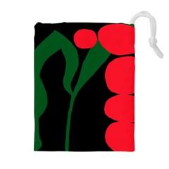 Illustrators Portraits Plants Green Red Polka Dots Drawstring Pouches (Extra Large)