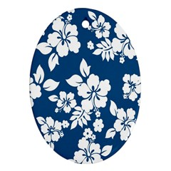 Hibiscus Flowers Seamless Blue White Hawaiian Ornament (Oval)