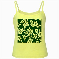 Hibiscus Flowers Seamless Blue White Hawaiian Yellow Spaghetti Tank