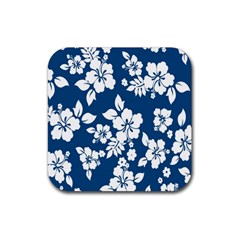 Hibiscus Flowers Seamless Blue White Hawaiian Rubber Coaster (Square)