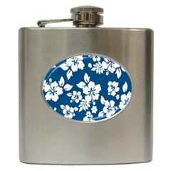 Hibiscus Flowers Seamless Blue White Hawaiian Hip Flask (6 oz)