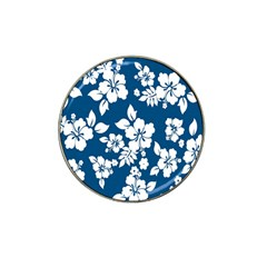 Hibiscus Flowers Seamless Blue White Hawaiian Hat Clip Ball Marker (10 pack)