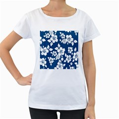 Hibiscus Flowers Seamless Blue White Hawaiian Women s Loose-Fit T-Shirt (White)