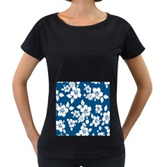 Hibiscus Flowers Seamless Blue White Hawaiian Women s Loose-Fit T-Shirt (Black)