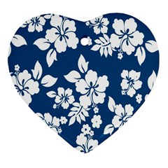 Hibiscus Flowers Seamless Blue White Hawaiian Heart Ornament (Two Sides)