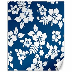 Hibiscus Flowers Seamless Blue White Hawaiian Canvas 16  X 20