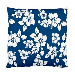 Hibiscus Flowers Seamless Blue White Hawaiian Standard Cushion Case (Two Sides)