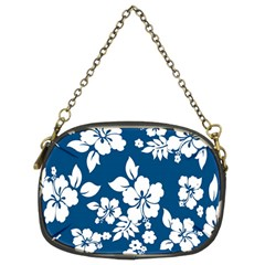 Hibiscus Flowers Seamless Blue White Hawaiian Chain Purses (Two Sides)