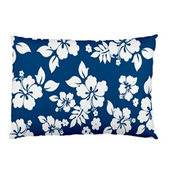 Hibiscus Flowers Seamless Blue White Hawaiian Pillow Case