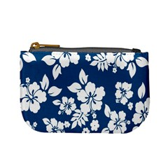 Hibiscus Flowers Seamless Blue White Hawaiian Mini Coin Purses