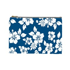 Hibiscus Flowers Seamless Blue White Hawaiian Cosmetic Bag (Large)