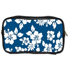 Hibiscus Flowers Seamless Blue White Hawaiian Toiletries Bags