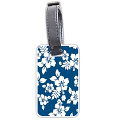 Hibiscus Flowers Seamless Blue White Hawaiian Luggage Tags (Two Sides)