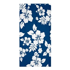 Hibiscus Flowers Seamless Blue White Hawaiian Shower Curtain 36  x 72  (Stall)