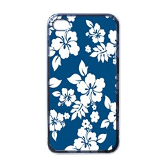 Hibiscus Flowers Seamless Blue White Hawaiian Apple iPhone 4 Case (Black)