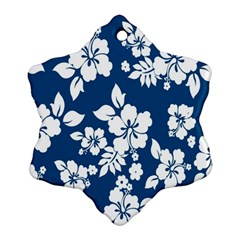 Hibiscus Flowers Seamless Blue White Hawaiian Snowflake Ornament (Two Sides)