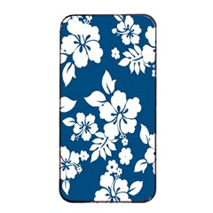 Hibiscus Flowers Seamless Blue White Hawaiian Apple iPhone 4/4s Seamless Case (Black)