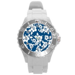 Hibiscus Flowers Seamless Blue White Hawaiian Round Plastic Sport Watch (L)
