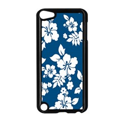 Hibiscus Flowers Seamless Blue White Hawaiian Apple iPod Touch 5 Case (Black)