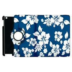 Hibiscus Flowers Seamless Blue White Hawaiian Apple iPad 3/4 Flip 360 Case
