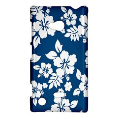 Hibiscus Flowers Seamless Blue White Hawaiian Nokia Lumia 720