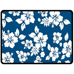 Hibiscus Flowers Seamless Blue White Hawaiian Double Sided Fleece Blanket (Large)