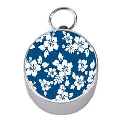 Hibiscus Flowers Seamless Blue White Hawaiian Mini Silver Compasses