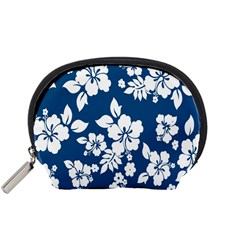 Hibiscus Flowers Seamless Blue White Hawaiian Accessory Pouches (Small)