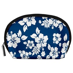 Hibiscus Flowers Seamless Blue White Hawaiian Accessory Pouches (large)