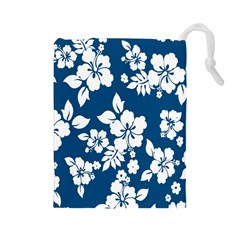 Hibiscus Flowers Seamless Blue White Hawaiian Drawstring Pouches (Large)