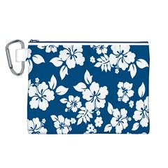 Hibiscus Flowers Seamless Blue White Hawaiian Canvas Cosmetic Bag (L)