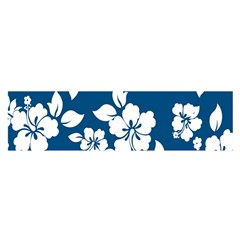 Hibiscus Flowers Seamless Blue White Hawaiian Satin Scarf (Oblong)