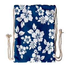 Hibiscus Flowers Seamless Blue White Hawaiian Drawstring Bag (Large)