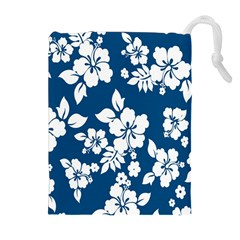 Hibiscus Flowers Seamless Blue White Hawaiian Drawstring Pouches (Extra Large)